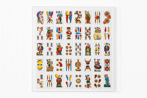Angelo Formica, Doppio gioco, collage su forex in teca, 2011, Galleria Toselli