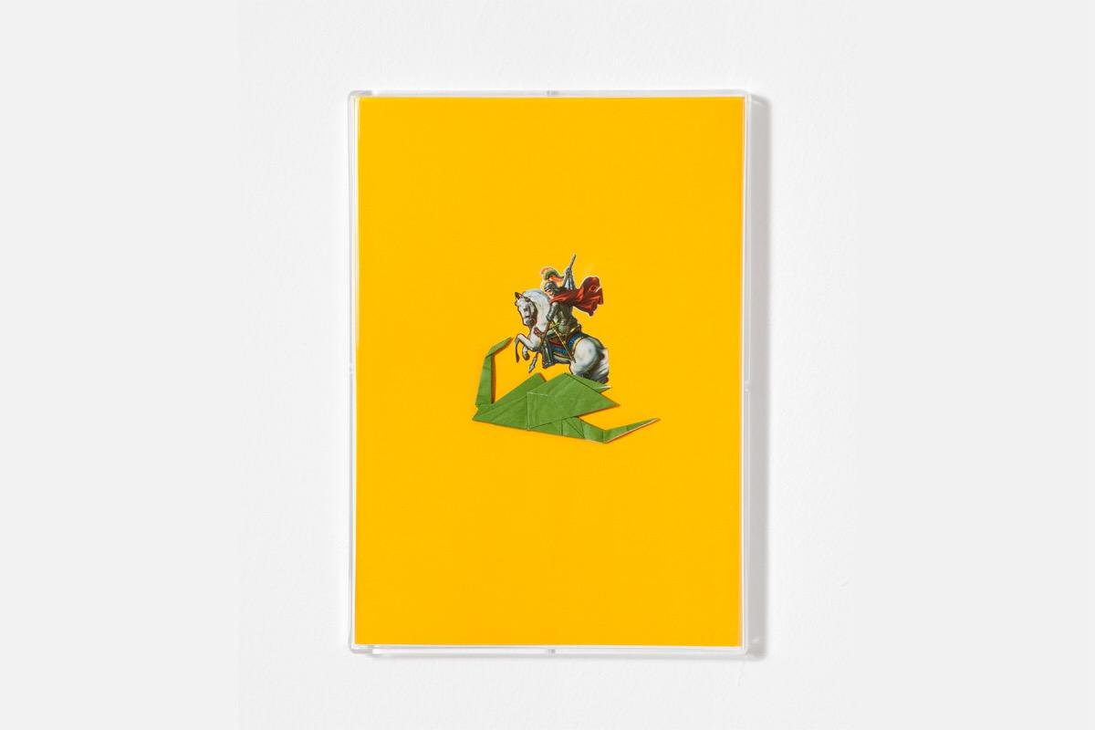 Angelo Formica, San Giorgio e il drago, collage on forex in case, 2013, Galleria Toselli