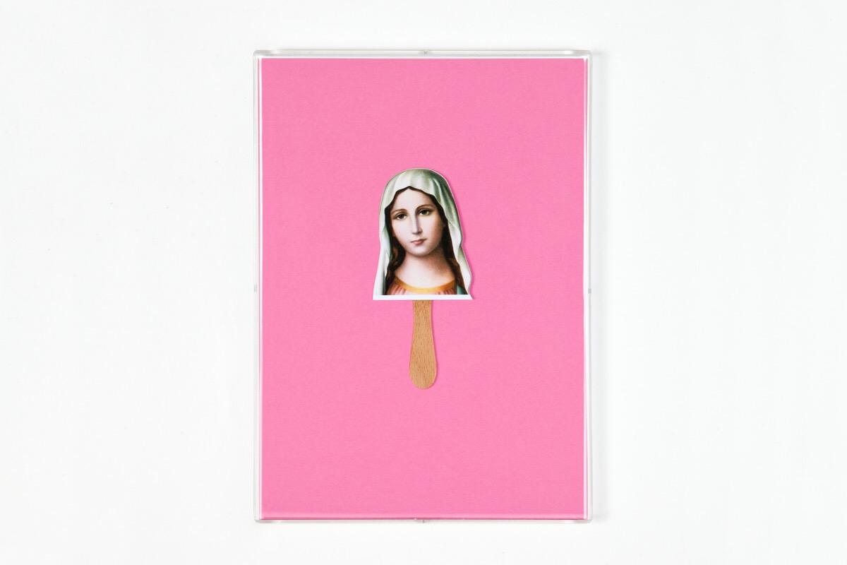Angelo Formica, Madonna di luglio, collage su forex in teca, 2009-2014, Galleria Toselli