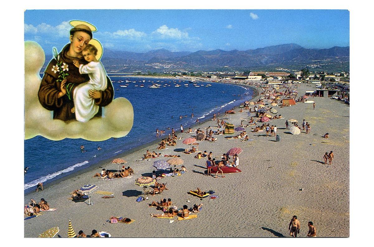 Angelo Formica, Vacanze protette, collage in teca, 2013, Galleria Toselli