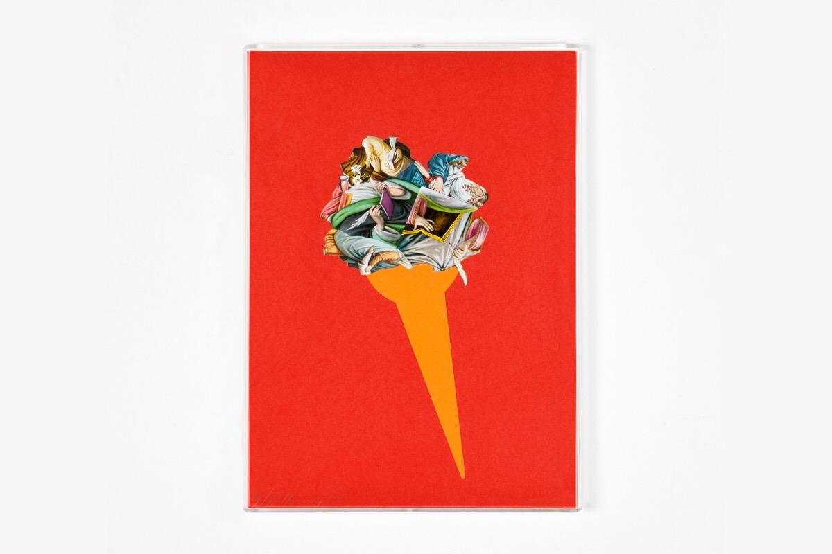 Angelo Formica, Cono barocco, collage su forex in teca, 2010, Galleria Toselli