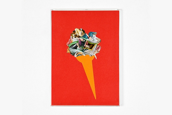 Angelo Formica, Cono barocco, collage on forex in case, 2010, Galleria Toselli