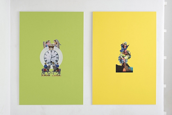 Angelo Formica, Primo tempo, collage su forex in teca, 2013, Galleria Toselli