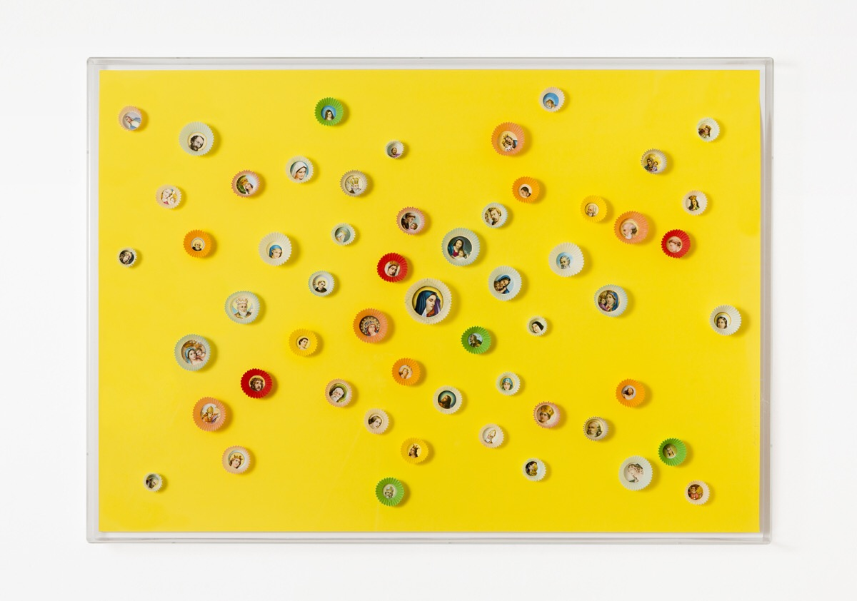 Angelo Formica, Dolce paradiso, collage su forex in teca, 2010, Galleria Toselli