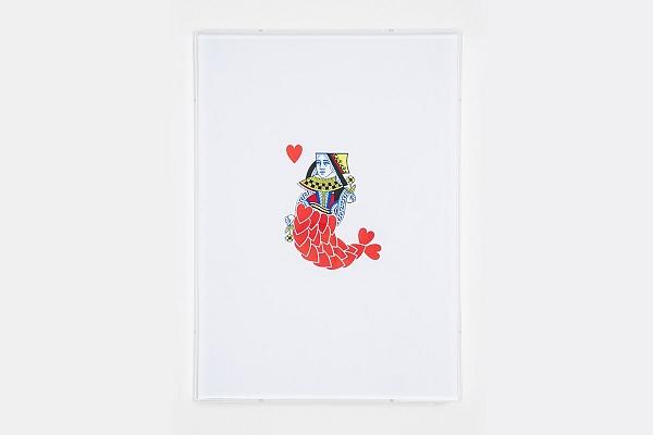 Angelo Formica, Sirena di cuori, collage su forex in teca, 2014, Galleria Toselli