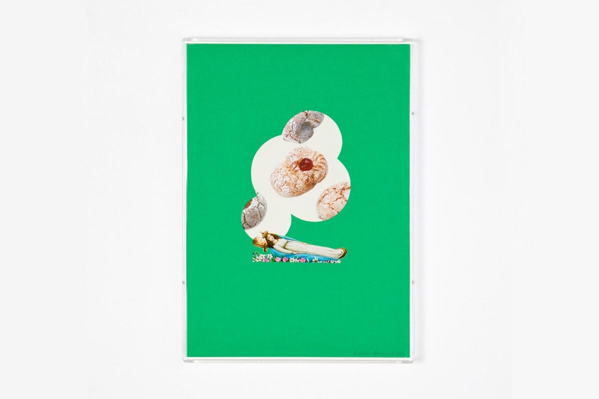 Angelo Formica, Il dolce risveglio, collage su forex in teca, 2010, Galleria Toselli