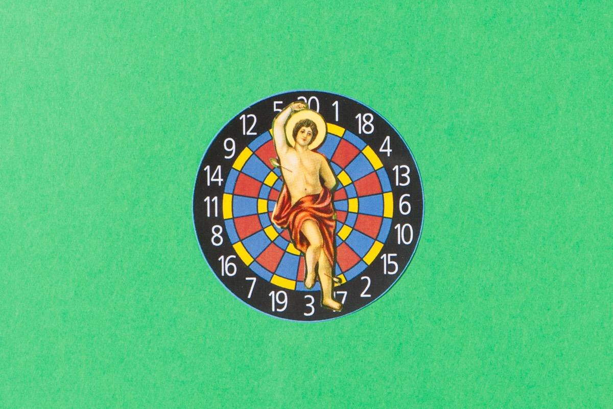 Angelo Formica, San Sebastiano, dettaglio, collage su forex in teca, 2013, Galleria Toselli